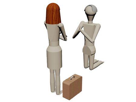 Mann bietet kMan inginocchiato dando a sua moglie di non lasciarlo (rendering 3D con bambole di legno) niend seine Frau, ihn nicht zu verlassen (3D-Rendering mit Holzpupen) Archivio Fotografico - 78486942