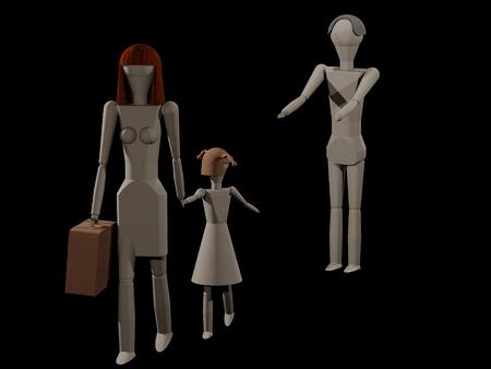 女性彼女の娘 (木の人形と 3 D レンダリング) と彼女の夫を葉します。 写真素材