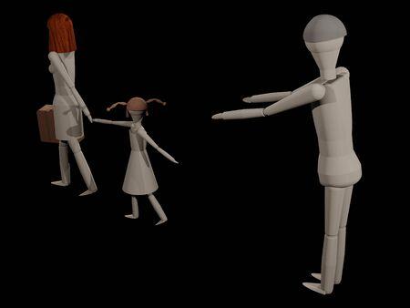 女性彼女の娘 (木の人形と 3 D レンダリング) と彼女の夫を葉します。
