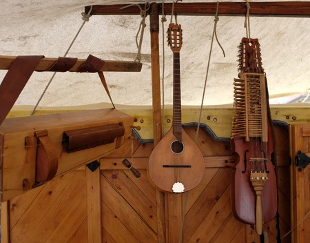 Reproductions of medieval musical instruments made of wood