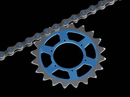 Onderdeel van een fietsketting met kettingblad (3D-rendering) Stockfoto