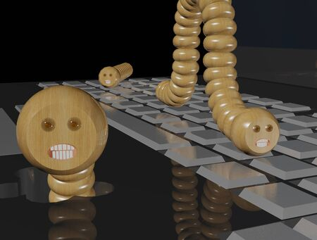 Wooden computer worms on a notebook (3D rendering)
