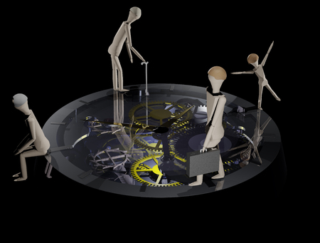 A life clock on which a person is running in different phases of life (3D rendering) Stock fotó