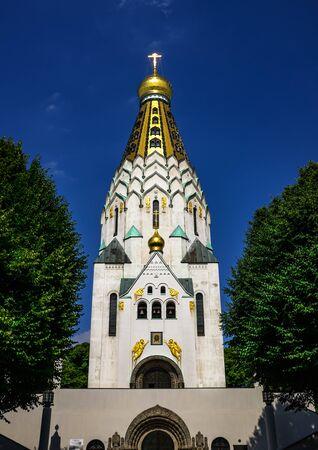 Historical russian orthodox memory church in Leipzig Banco de Imagens