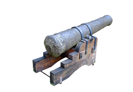 An isolated old cannon against the white background