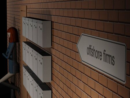 Signpost aux sociétés letterbox Banque d'images - 90583924