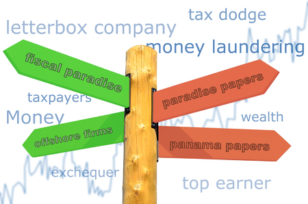 A signpost with directions for a money laundering Stock Photo