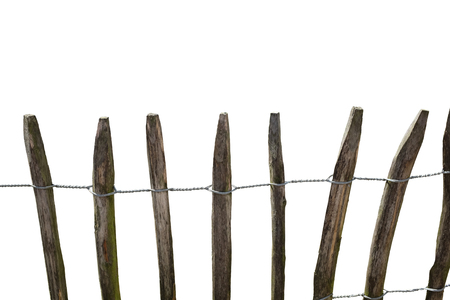 A rustic wooden fence over a white background