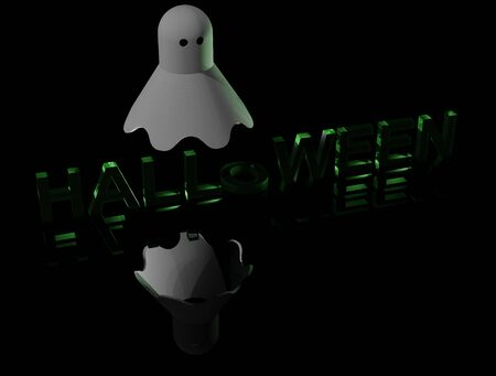 a ghost over a fluorescent green lettering Halloween (3D rendering)