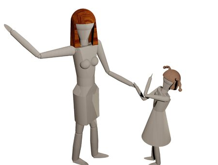 Mother is taking off to hit her daughter (3D rendering) Stock Photo