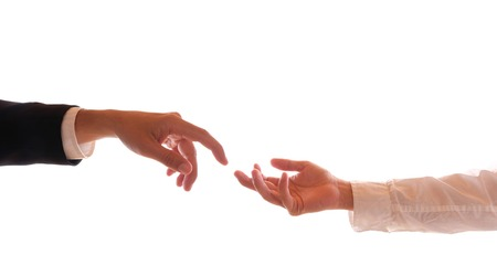 Hands of two gay men at the wedding ceremony Stock Photo