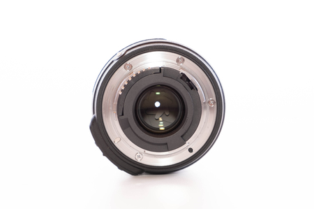 A photo lens from the back with opened slats (Isolated)