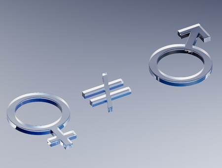 Femininity and Masculinity Not Equal (3D Illustration)