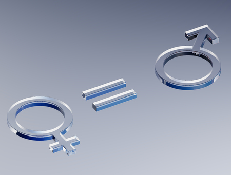 Equality of femininity and masculinity (3D Illustration)