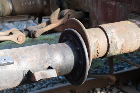Detail of an old, rusted railway wagon clutch