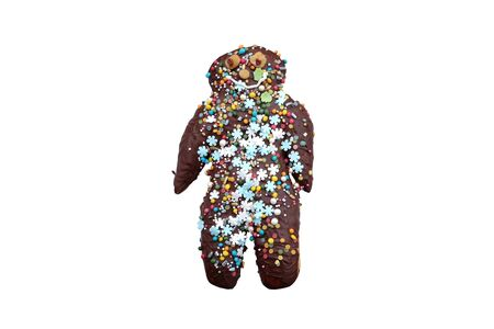 Chocolate-covered gingerbread male (isolated) Standard-Bild