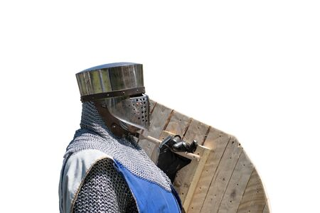 A knight with full helmet and wooden debt over white Standard-Bild