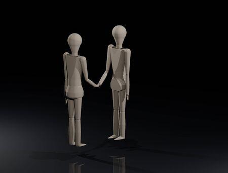 Two wooden dolls shake hands (3D illustration) Banque d'images - 135676971