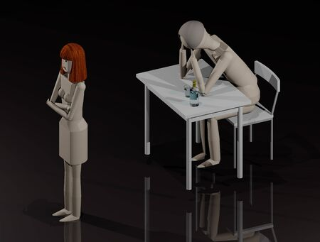 The wife turns her back on the man because she wants to leave him (3D illustration) Standard-Bild