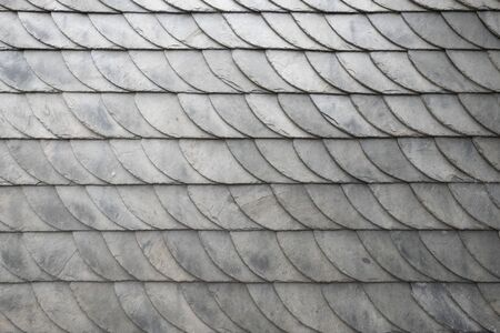 Detail of gray slate slabs as traditional architecture in central Germany