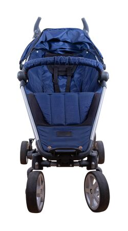 A blue child buggy over white background (isolated)