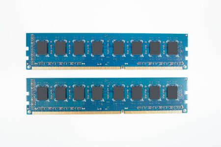 Two blue memory chips over white background (isolated) Standard-Bild