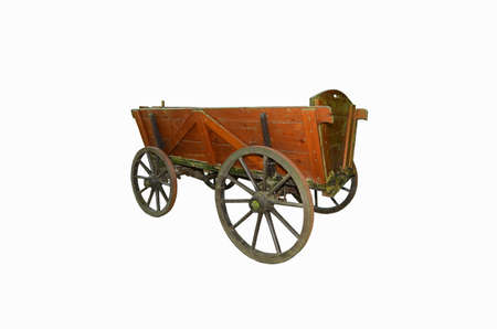 A wooden wagon over white background