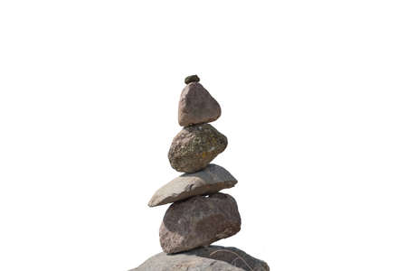 Stacked stones as a stone tower over white background
