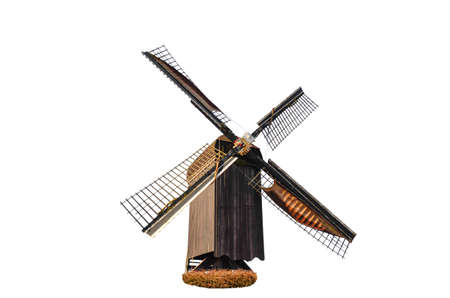 A wooden windmill over white background (isolated)