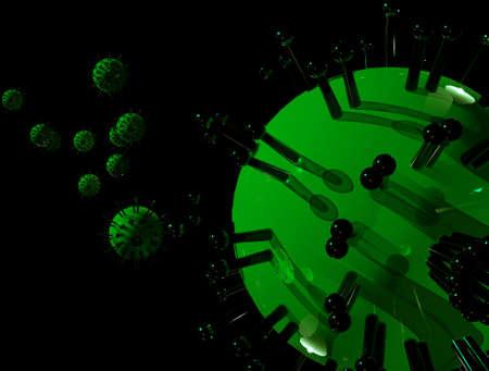 Several bright green viruses in an environment over black background (3D illustration).