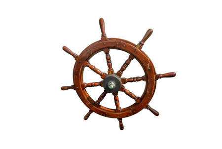 A steering wheel (rudder) isolated over the white background