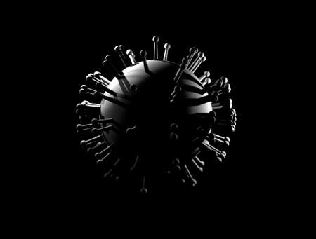 A virus model with spikes in gray color on a black background (3D illustration). Standard-Bild