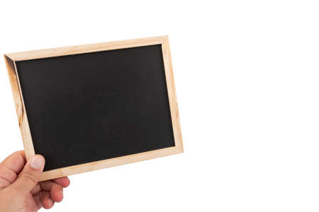 A male hand with a small blank writing board (optional).