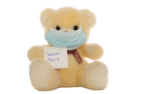 A fluffy plush bear with a face mask and a note