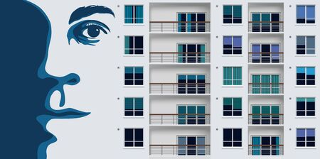 Street art with a mural depicting a giant portrait on a suburban building wall