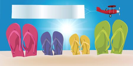 Concept of a beach vacation on a sunny day, with four pairs of flip-flops in the sky. Ilustração