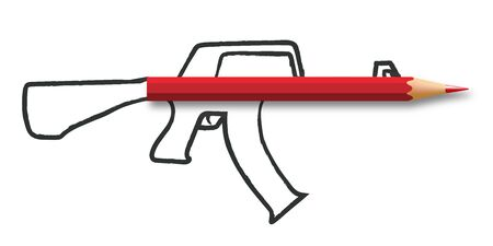 Concept of freedom of the press and information with a pencil that forms the barrel of a rifle, drawn on a white background