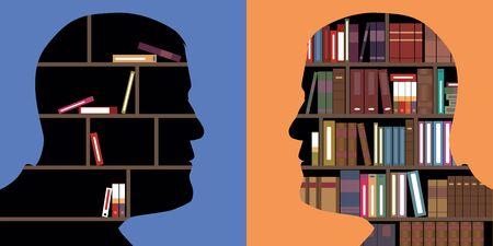 Concept de savoir opposé à l'ignorance, avec deux profils de face-à-face, dans lesquels des livres sont rangés, comme dans une bibliothèque