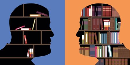 Concept of knowledge opposed to ignorance, with two face-to-face profiles, in which books are stored, as in a library