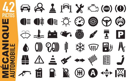 Set of pictograms to illustrate the theme of mechanics, grouping on a board, signage for advertising and marketing. Illustration