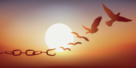 Concept of liberation with a dove escaping by breaking its chains, symbol of prison. Stock Illustratie