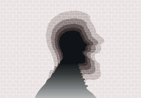 Concept de problèmes psychiatriques et de santé mentale, avec un mur de pierres dans lequel se découpe la silhouette d'une tête de profil qui crie et se répète à l'infini.
