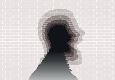 Concept of psychiatric problems and mental health, with a wall of stones in which is cut the silhouette of a profile head that screams and repeats to infinity. 免版税图像 - 129457720