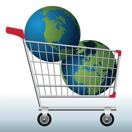 Concept of excessive exploitation of natural resources of the earth with two planets in a shopping cart to symbolize the danger.