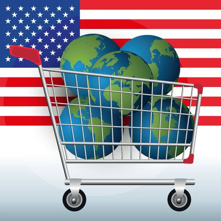 Ecological concept, showing a shopping cart and five globes to symbolize the excessive consumption of the natural wealth of the earth by the United States.