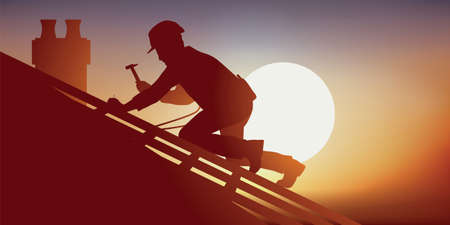 Building trade with a roofer on the roof of a house laying tiles. Crouching on a frame, he works in oppressive heat.
