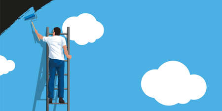 Concept of renewal and overcoming the crisis, with a painter covering a concrete wall with white clouds on a blue sky.