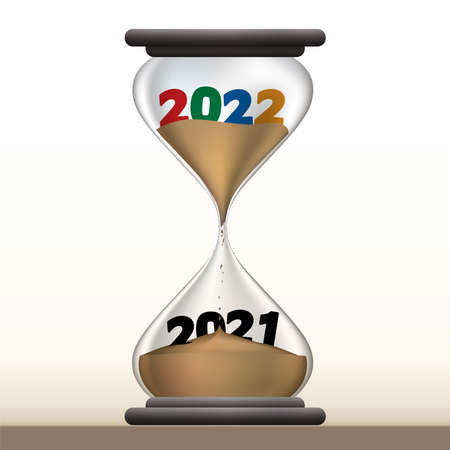 Concept of passing time and the transition to the new year, with an hourglass that presents 2022 by making 2021 disappear Vecteurs