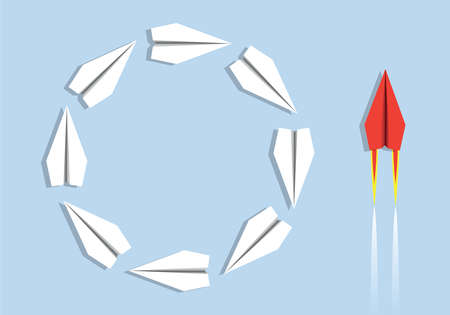Concept of inefficiency as opposed to inefficiency with origami planes spinning around stupidly on one side and a red airplane acting intelligently on the other.
