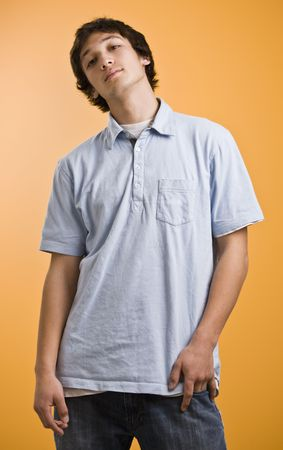 short sleeved: Attractive brunette male, facing camera smiling with a short sleeved collared shirt. vertical